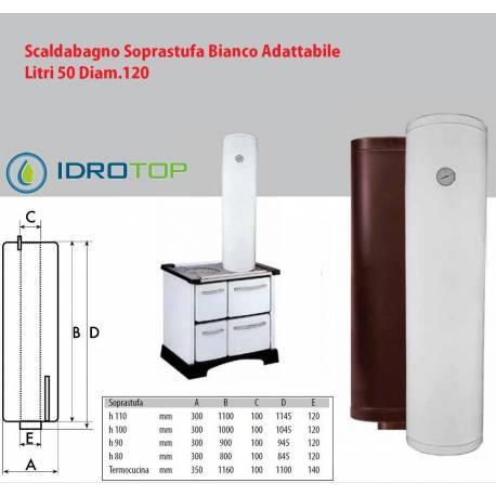 Scaldabagno soprastufa 50lt diam 120 bianco adattabile tutte le stufe - Installazione scaldabagno ...