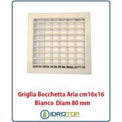 Griglia Bocchetta 16x16cm Diam. 80mm Bianco con Adattatore per Camino