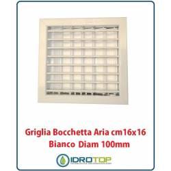 Griglia Bocchetta 16x16cm Diam. 100mm Bianco con Adattatore per Camino