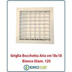 Griglia Bocchetta 18x18cm Diam. 120mm Bianco con Adattatore per Camino