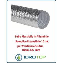 Tubo Flessibile Diam.127mm in Alluminio Semplice Estensibile 10 mt. per Ventilazione
