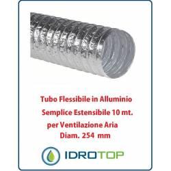Tubo Flessibile Diam.254mm in Alluminio Semplice Estensibile 10 mt. per Ventilazione