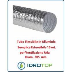 Tubo Flessibile Diam.305mm in Alluminio Semplice Estensibile 10 mt. per Ventilazione