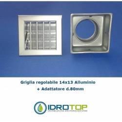 Bocchetta Aria cm14x13 Alluminio con Adattatore D.80-Griglia x Caminetto Regolabile