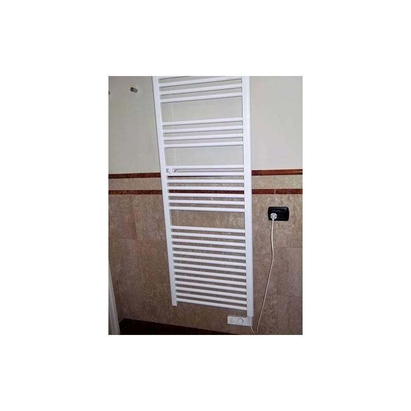 Termoarredo scaldasalviette h720xl400 calorifero elettrico bianco con termostato - Scaldasalviette elettrico per bagno ...