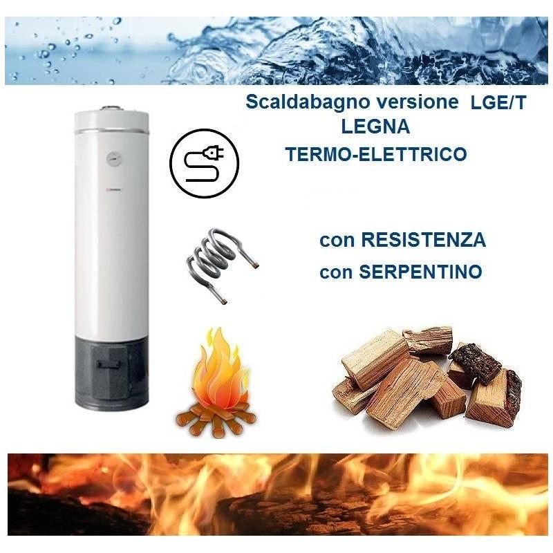 Scaldabagno lge t 80l a legna termo elettrico ad accumulo in acciaio for Scaldabagno elettrico ad accumulo