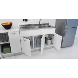 Mobile sottolavello 135 X 60 per cucina doppia anta abbinabile al lavello inox in tre colori