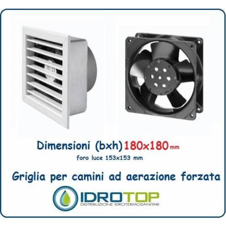 Griglia 18x18 Diam.12 cm BIANCA Ventilazione Areazione Forzata 230 V per Caminetto