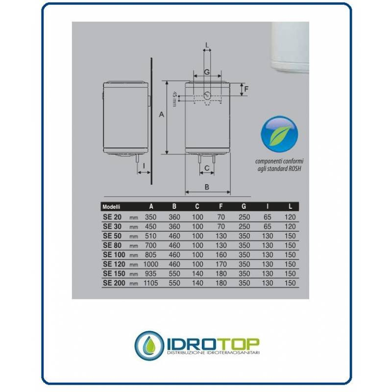 Scaldabagno elettrico se 30 litri verticale con resistenza corazzata e anodo - Scaldabagno elettrico 30 litri ...