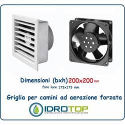 Griglia 20x20 Diam.14 cm BIANCA Ventilazione Areazione Forzata 230 V per Caminetto