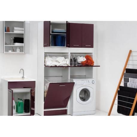 Mobile porta lavatrice rialzato con cesto portabiancheria e due ...