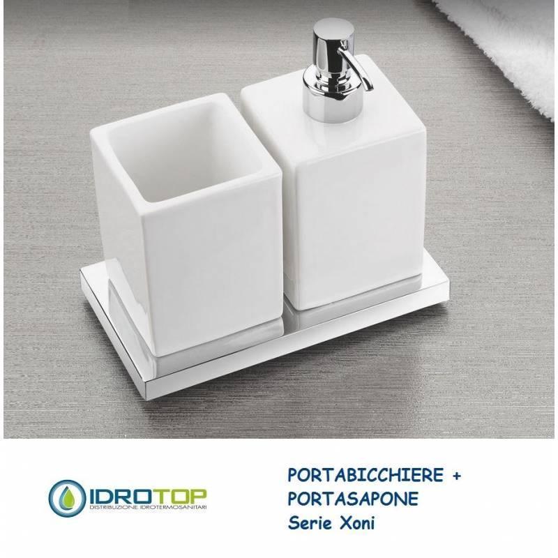 Portasapone con Portabicchiere XONI in Ceramica particolari Cromo Ibb ...