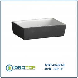 Portasapone da Appoggio SOFTY in Ceramica con Vernice Softy-Touch Grigia Ibb SO21Q