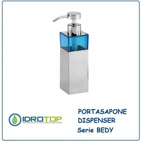 Portasapone a Dispenser BEDY Acciaio Inox/Acrilico Blu Ibb D21D