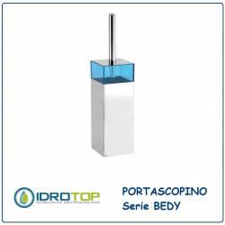 Portascopino BEDY Acciaio Inox/Acrilico Blu Ibb D17