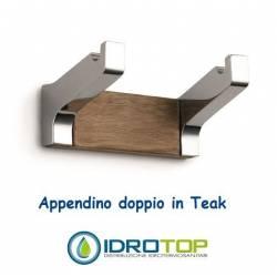 Appendino Doppio 9cm in Legno Teak Naturale finitura Acciaio Inox Lucido Ibb NA08