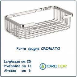 Portaspugna-Portasapone per Doccia 25x13 Rettangolare Cromato Ibb GH77