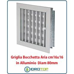 Parrilla Boquilla 16x16cm Diam. 80mm Aluminio con Adaptador para Chimenea