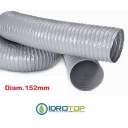 Flexible Tube diam. 152 PVC Extendible for 10 mt for Conditioning and Ventilation
