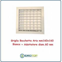 Griglia Bocchetta 16x16cm Diam. 60mm Bianco con Adattatore per Camino