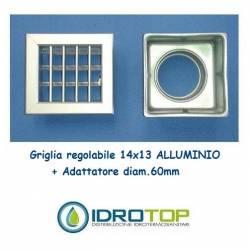 Bocchetta Aria cm14x13 Alluminio con Adattatore D.60-Griglia x Caminetto Regolabile