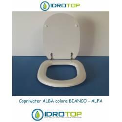 Copriwater Alfa ALBA BIANCO Cerniera Rallentata Soft Close Cromo-Sedile-Asse Wc