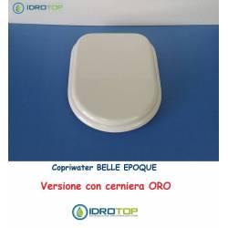 Copriwater Cesame  BELLE EPOQUE BIANCO Cerniera Rallentata Soft Close Oro-Sedile-Asse Wc