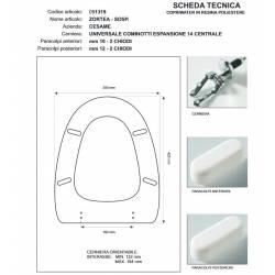 Copriwater Cesame ZORTEA - SOSP. NERO Cerniera Rallentata Soft Close Cromo-Sedile-Asse Wc