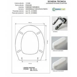 Copriwater PAOLINA Disegno Ceramica Bianco Cerniera Rallentata Soft Close Cromo