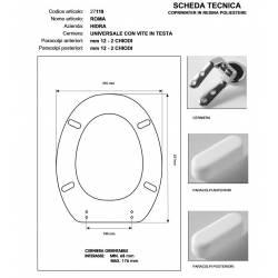 Copriwater Hidra ROMA BIANCO Cerniera Rallentata Soft Close Cromo-Sedile-Asse Wc