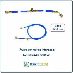 Tubo Flessibile-Frusta Colore Blu con Valvola Intermedia x R410-Idrotop