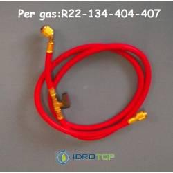 Tubo Flessibile Rosso Frusta con Valvola Intermedia per R22-134-404-407