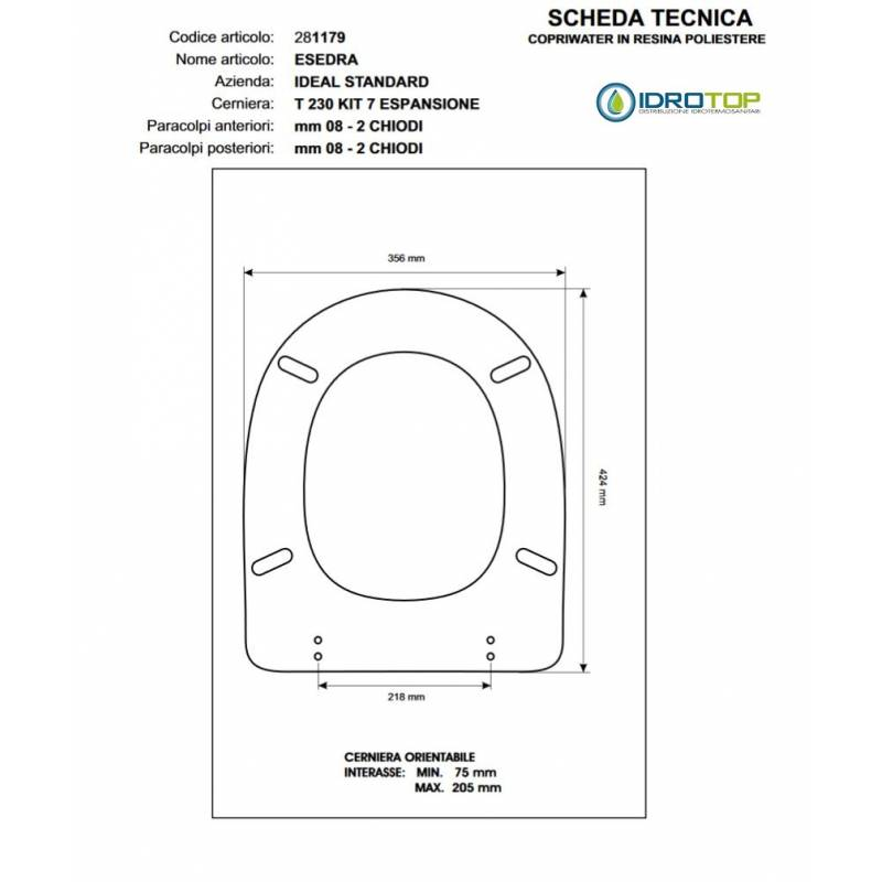 Copriwater ideal standard esedra bianco for Copriwater ideal standard