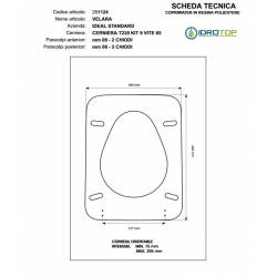 Copriwater Ideal Standard  VELARA  BIANCO I.S.  Cerniera Oro-Sedile-Asse Wc