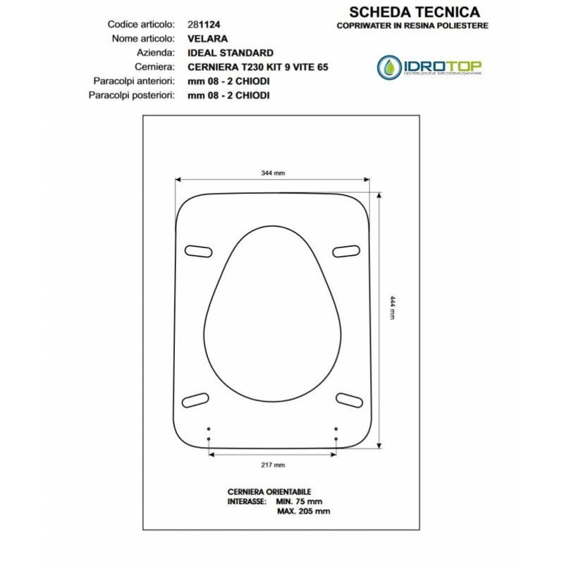 Copriwater ideal standard velara grigio for Copriwater ideal standard