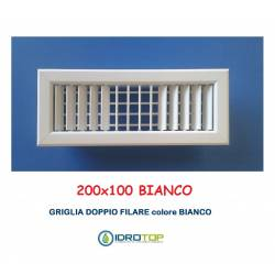 Bocchette Griglie 200X100mm BIANCA con Alette orientabili Doppio Filare