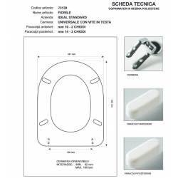 Copriwater Ideal Standard FIORILE Bianco Euro Sedile Cerniera Rallentata Soft Close Cromo -Sedile-Asse Wc