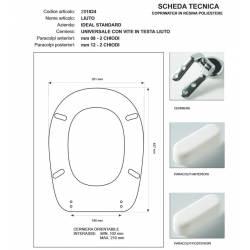 Copriwater Ideal Standard  LIUTO BIANCO I.S.  Cerniera Rallentata Soft Close Cromo-Sedile-Asse Wc