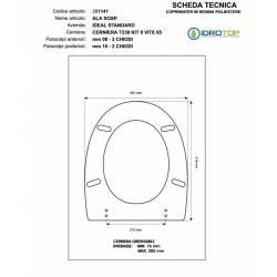 Copriwater Ideal Standard  ALA SOSP. GRIGIO SUSSURRATO  Cerniera Rallentata Soft Close Cromo-Sedile-Asse Wc