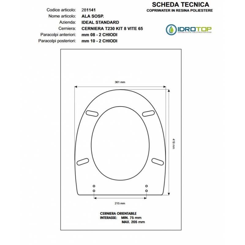 Copriwater ideal standard ala sosp grigio sussurrato for Copriwater ideal standard