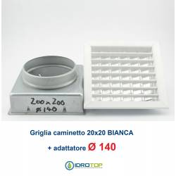 Bocchetta Aria cm20x20 regolabile Bianca con Adattatore D.140 per Caminetti