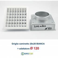 Bocchetta Aria cm20x20 regolabile Bianca con Adattatore D.120 per Caminetti