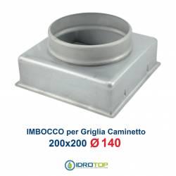 Imbocco per Griglia 20x20 diametro 140mm Raccordo Adattatore per Bocchetta Caminetto