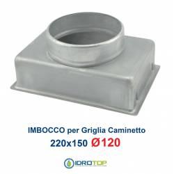 Imbocco per Griglia 22x15 diametro 120mm Raccordo Adattatore per Bocchetta Caminetto