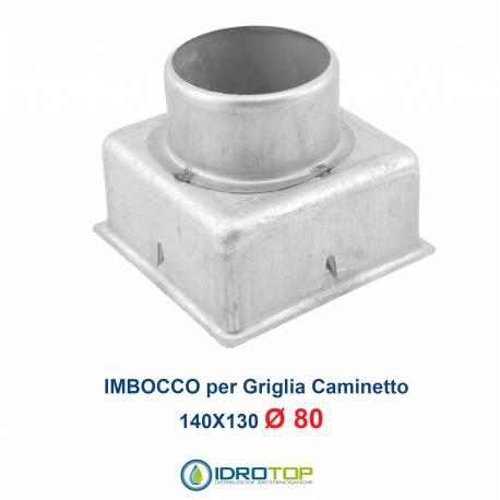 Imbocco per Griglia 14x13 diametro 80mm Raccordo Adattatore per Bocchetta Caminetto