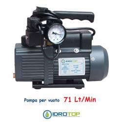 Pompa Vuoto Monostadio 71 lt.con Vacuometro e Elettrovalvola. Idrotop