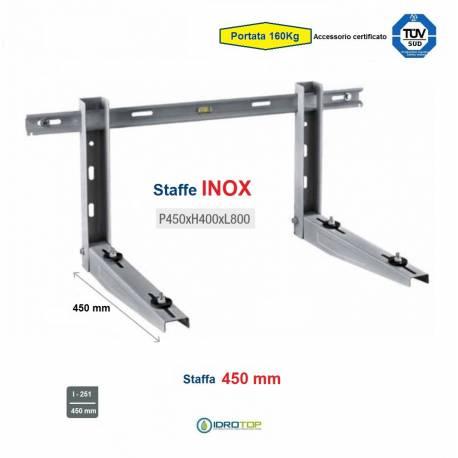 Staffa Regolabile INOX cm 45 per Climatizzatore portata 160 Kg.Certificata TUV