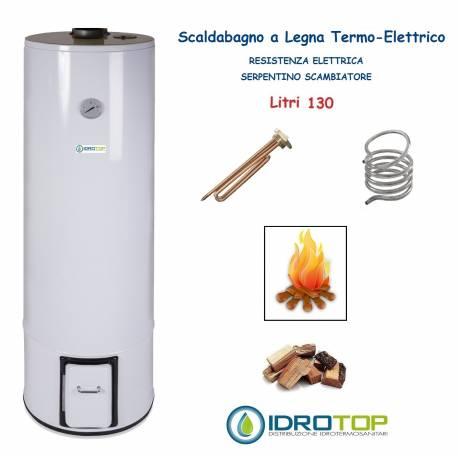 Scaldabagno a Legna Termo Elettrico LT 130 Scaldacqua Coibentato in Lana Vetro