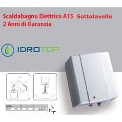 Scaldabagno Elettrico A15 ST 15 litri SOTTOLAVELLO per Piccole Capacità.Senza Regolazione Esterna