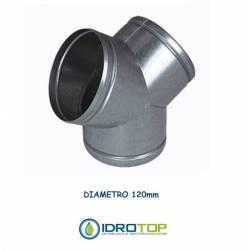 Conector a Y diam. 120 mm distribuidor para aire caliente, frío y ventilación